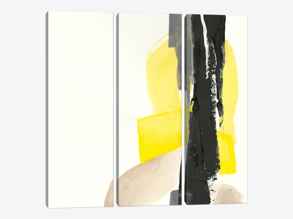 Black And Yellow I by Chris Paschke 3-piece Canvas Art