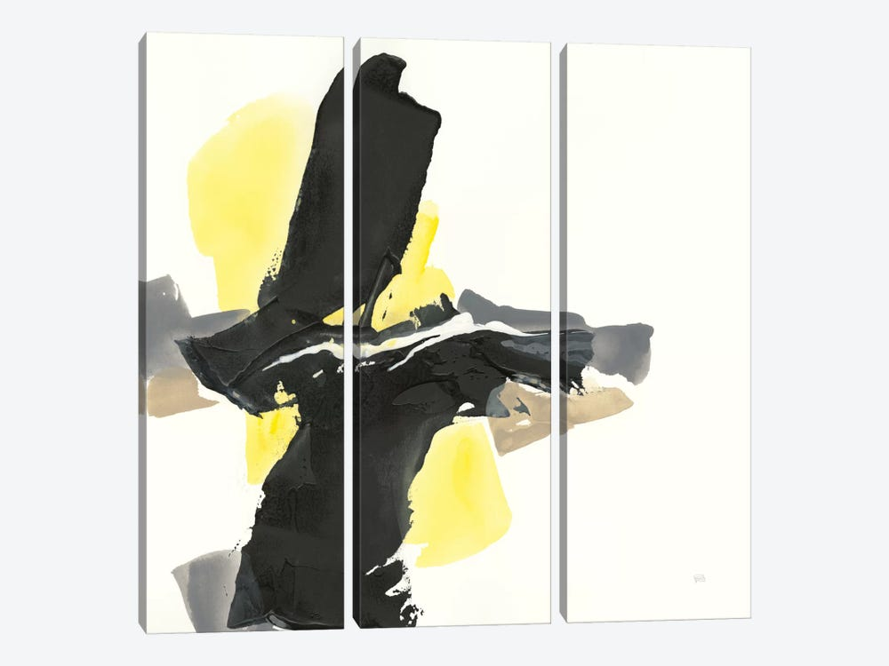 Black And Yellow IV by Chris Paschke 3-piece Canvas Wall Art