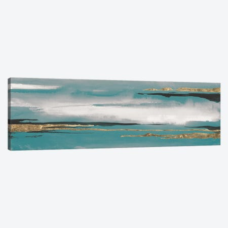 Gilded Storm Teal Grey I Canvas Print #WAC7578} by Chris Paschke Art Print