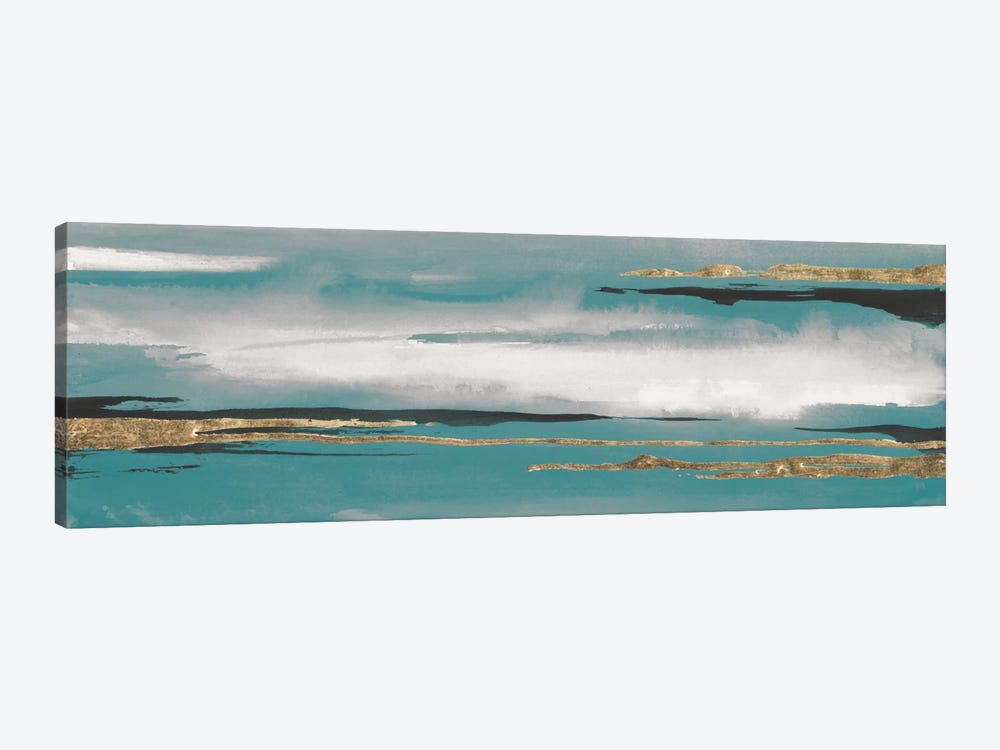Gilded Storm Teal Grey I by Chris Paschke 1-piece Canvas Art Print