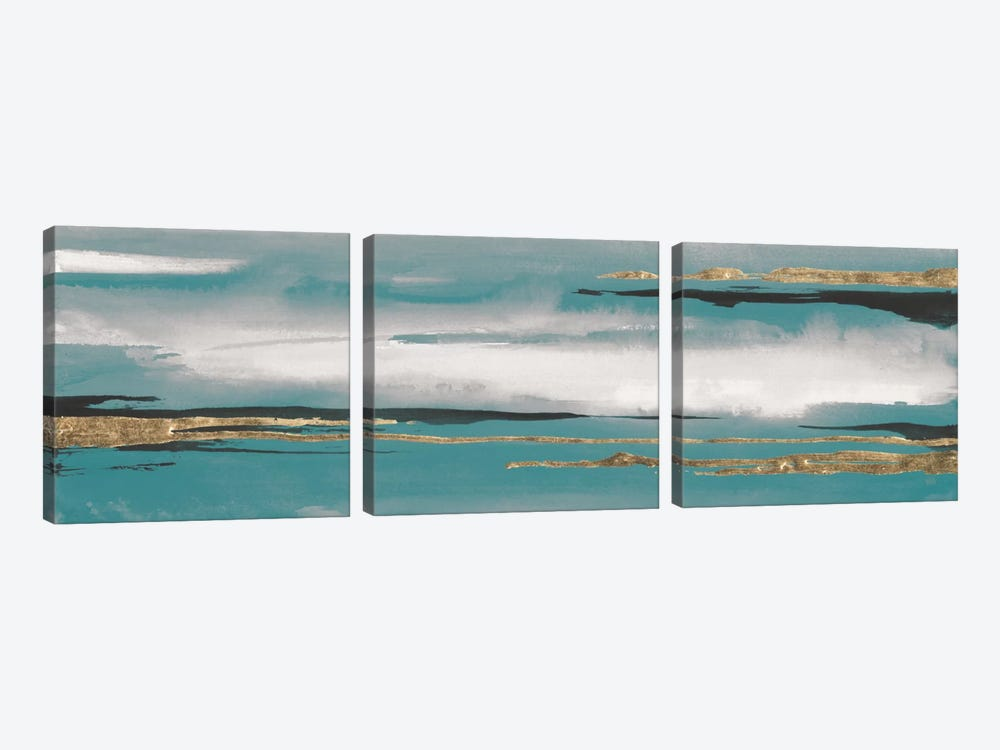 Gilded Storm Teal Grey I by Chris Paschke 3-piece Art Print