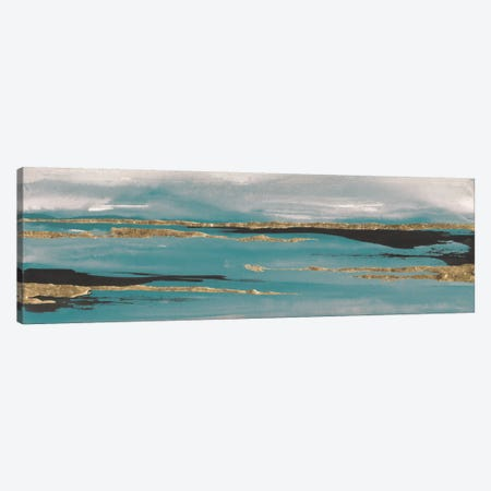 Gilded Storm Teal Grey II Canvas Print #WAC7579} by Chris Paschke Art Print
