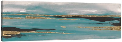 Gilded Storm Teal Grey II Canvas Art Print