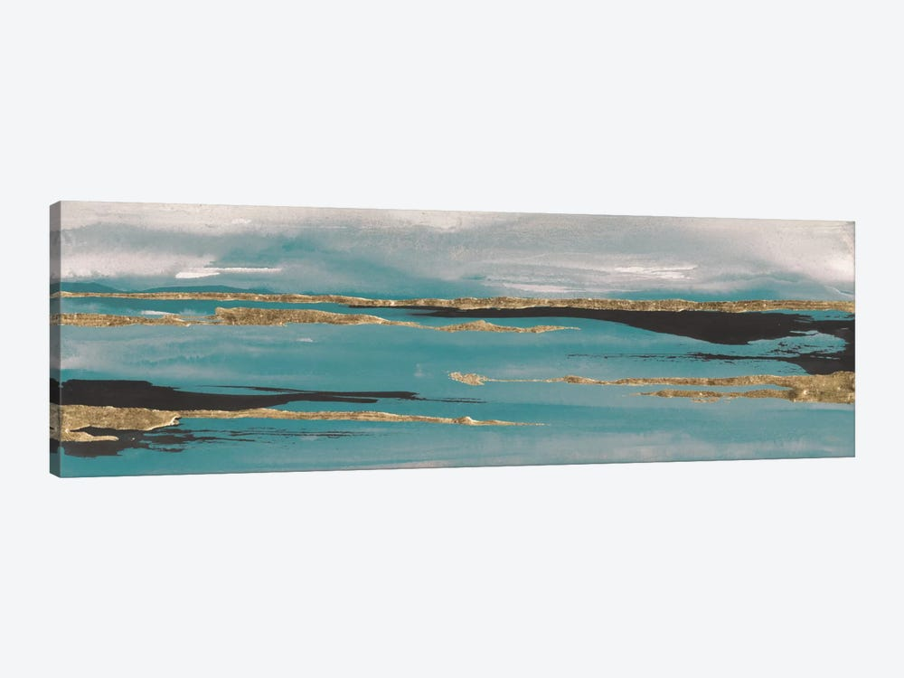 Gilded Storm Teal Grey II by Chris Paschke 1-piece Canvas Artwork