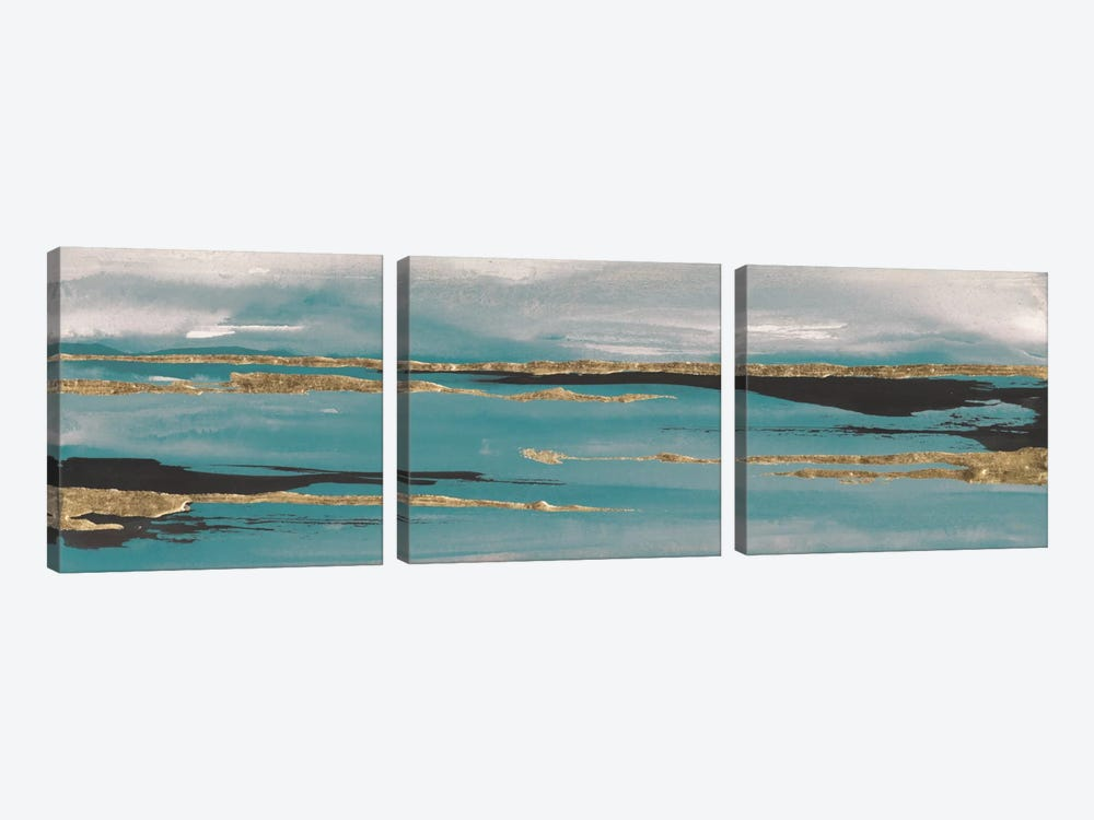 Gilded Storm Teal Grey II by Chris Paschke 3-piece Canvas Wall Art