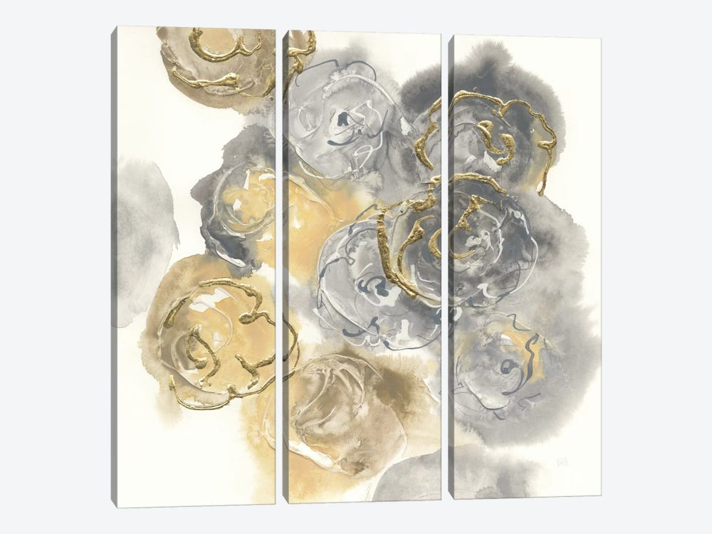 Gold Edged Neutral II by Chris Paschke 3-piece Canvas Print