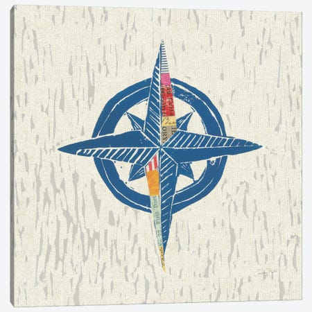 Nautical Collage On Linen I Canvas Print #WAC7621} by Courtney Prahl Canvas Print