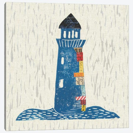 Nautical Collage On Linen II Canvas Print #WAC7622} by Courtney Prahl Canvas Art Print