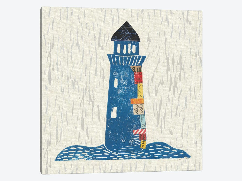 Nautical Collage On Linen II by Courtney Prahl 1-piece Canvas Wall Art