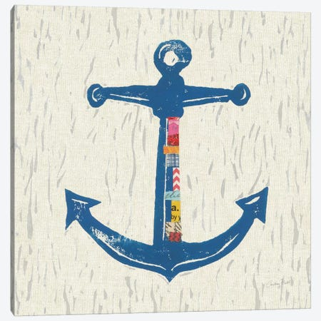 Nautical Collage On Linen III Canvas Print #WAC7623} by Courtney Prahl Art Print
