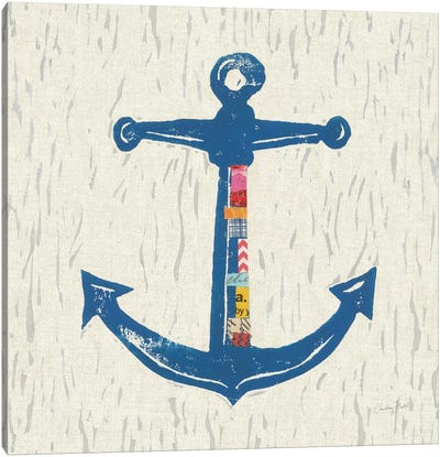 Nautical Collage On Linen III Canvas Art Print