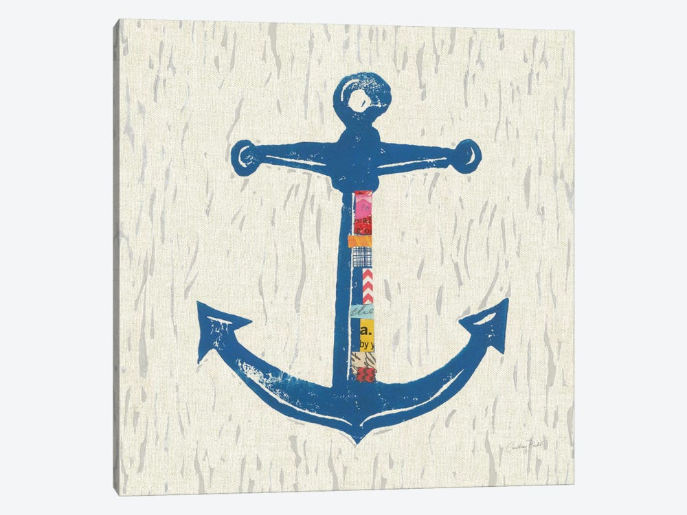 Nautical Collage On Linen III by Courtney Prahl 1-piece Canvas Art Print