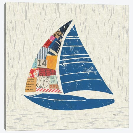 Nautical Collage On Linen IV Canvas Print #WAC7624} by Courtney Prahl Canvas Artwork
