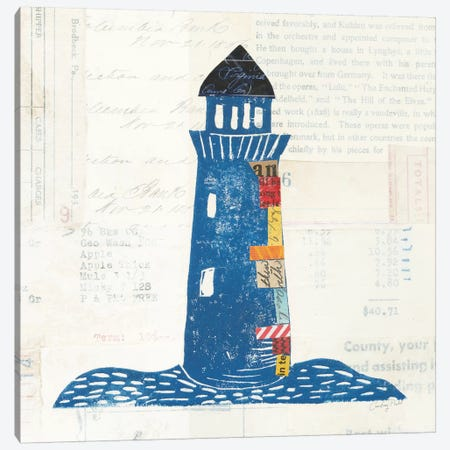 Nautical Collage On Newsprint II Canvas Print #WAC7626} by Courtney Prahl Canvas Artwork