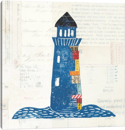 Nautical Collage On Newsprint II Canvas Art Print