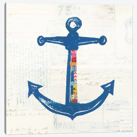 Nautical Collage On Newsprint III Canvas Print #WAC7627} by Courtney Prahl Canvas Wall Art
