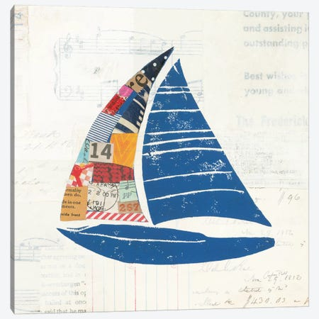 Nautical Collage On Newsprint IV Canvas Print #WAC7628} by Courtney Prahl Art Print
