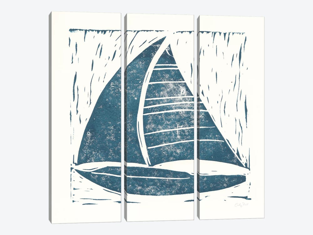 Nautical Collage On White IV by Courtney Prahl 3-piece Canvas Print
