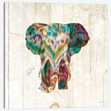 Boho Paisley Elephant III Canvas Print #WAC7633} by Danhui Nai Canvas Artwork