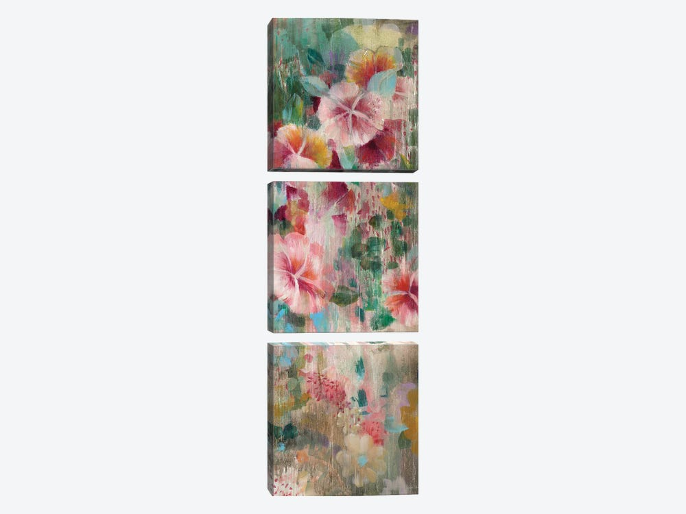 Flower Shower III by Danhui Nai 3-piece Canvas Print