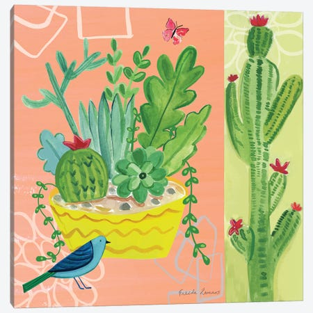 Cacti Garden IV 3-Piece Canvas #WAC7692} by Farida Zaman Canvas Artwork