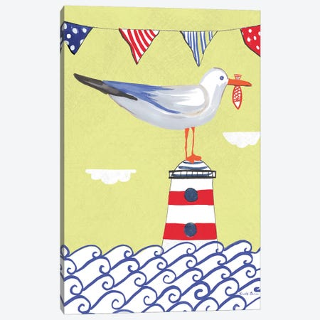 Coastal Bird Flags I Canvas Print #WAC7693} by Farida Zaman Canvas Artwork