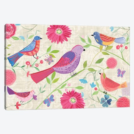Damask Floral And Bird, Rectangluar Canvas Print #WAC7696} by Farida Zaman Canvas Print