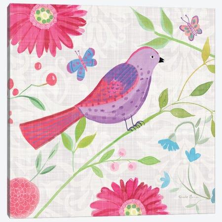 Damask Floral And Bird I Canvas Print #WAC7697} by Farida Zaman Canvas Art Print