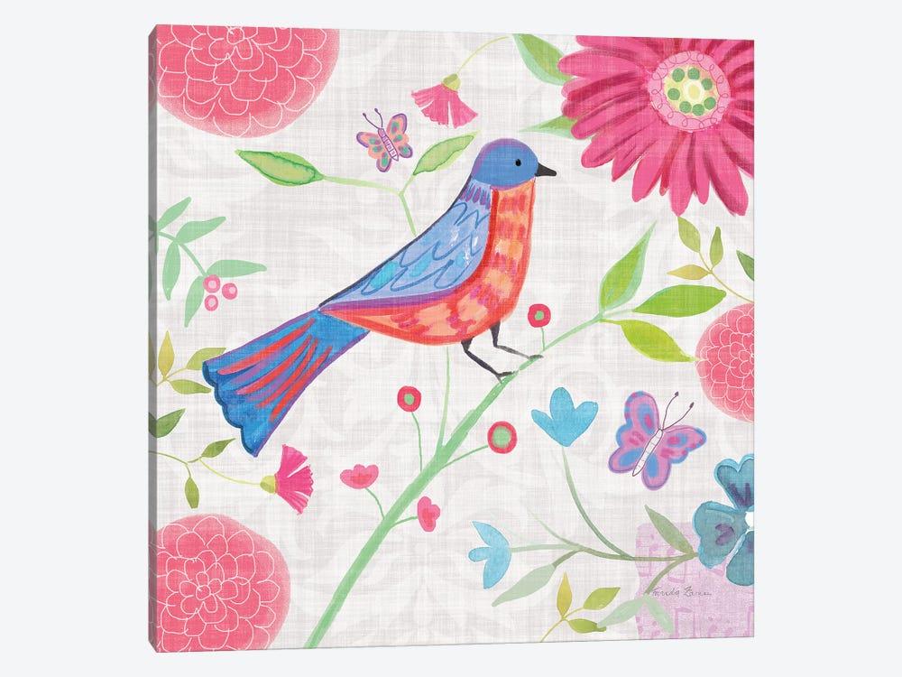 Damask Floral And Bird II by Farida Zaman 1-piece Canvas Print