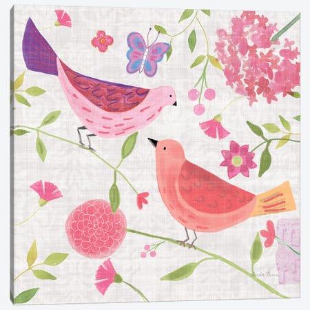 Damask Floral And Bird IV Canvas Print #WAC7700} by Farida Zaman Canvas Art