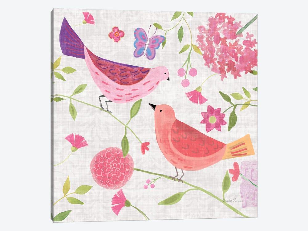Damask Floral And Bird IV by Farida Zaman 1-piece Art Print