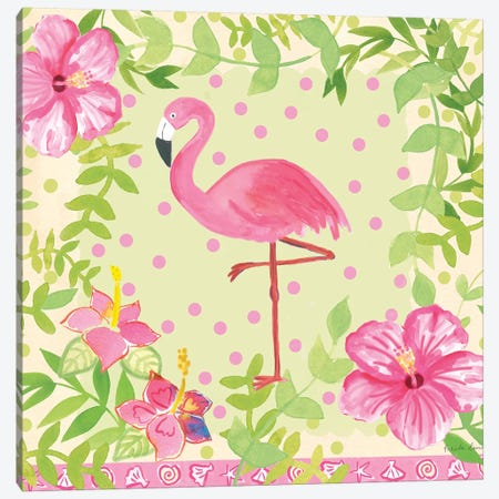 Flamingo Dance I Canvas Print #WAC7701} by Farida Zaman Canvas Wall Art