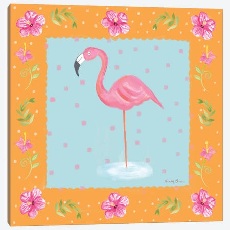 Flamingo Dance IV Canvas Print #WAC7704} by Farida Zaman Art Print