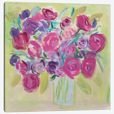 Pink Roses Flower Canvas Print #WAC7706} by Farida Zaman Canvas Art Print
