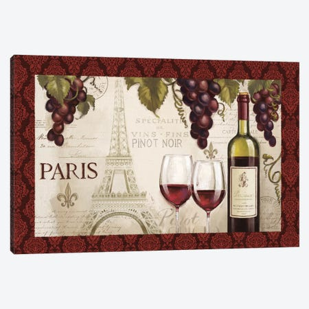 Wine In Paris, Damask Border Canvas Print #WAC7722} by Janelle Penner Canvas Wall Art