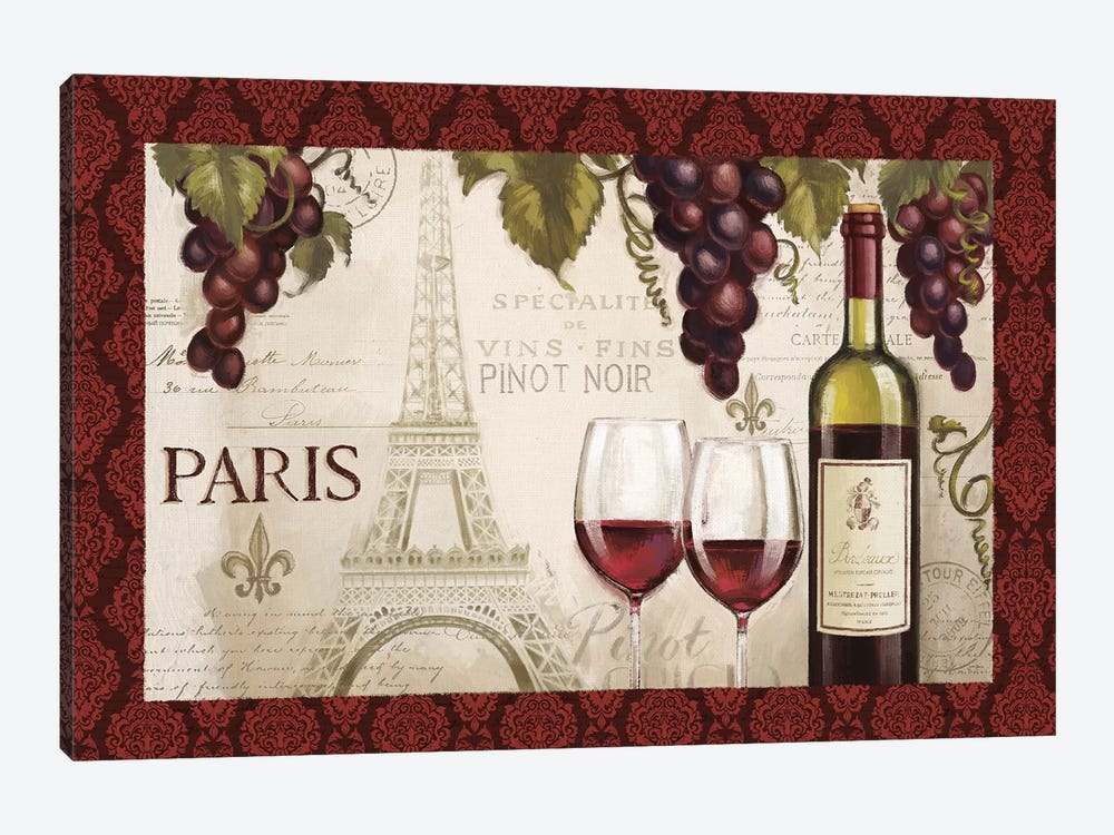 Wine In Paris, Damask Border by Janelle Penner 1-piece Canvas Print