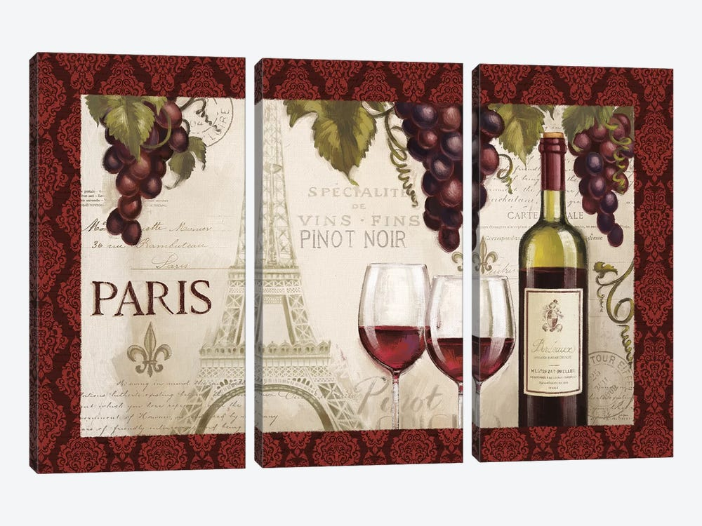 Wine In Paris, Damask Border by Janelle Penner 3-piece Canvas Art Print