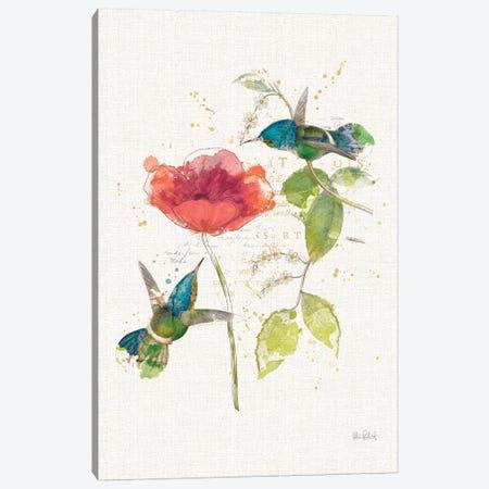 Teal Hummingbirds Flower II Canvas Print #WAC7764} by Katie Pertiet Art Print
