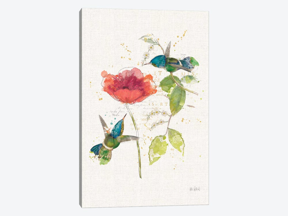 Teal Hummingbirds Flower II by Katie Pertiet 1-piece Canvas Print
