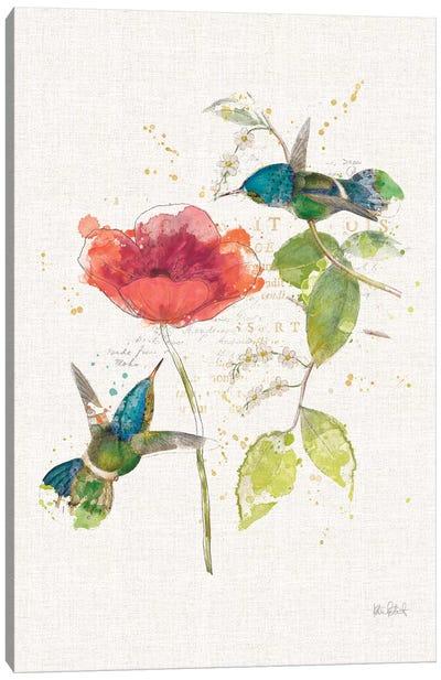 Teal Hummingbirds Flower II Canvas Art Print