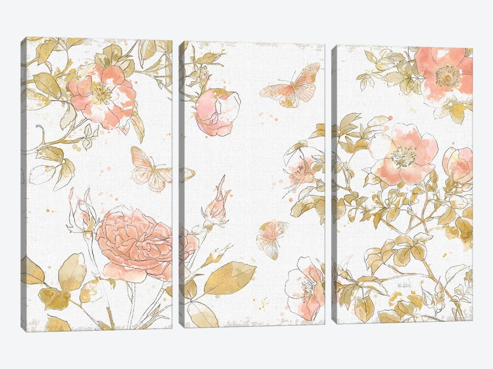 Watery Blooms I by Katie Pertiet 3-piece Canvas Art