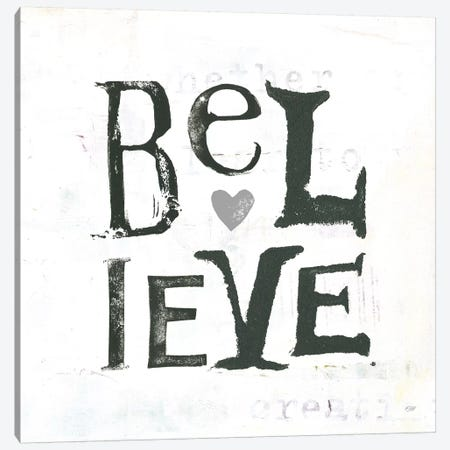 Believe: Gray Hearts Canvas Print #WAC7773} by Kellie Day Art Print