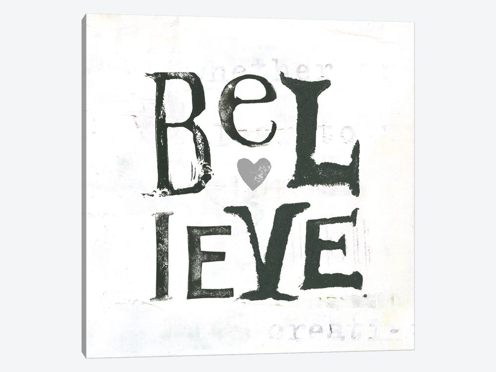 Believe: Gray Hearts by Kellie Day 1-piece Canvas Art Print