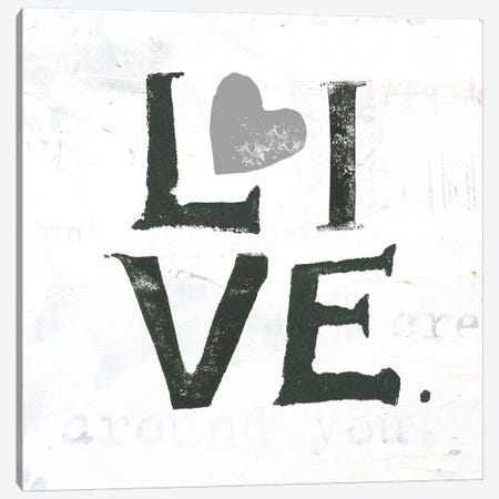 Live: Gray Heart Canvas Print #WAC7775} by Kellie Day Canvas Artwork