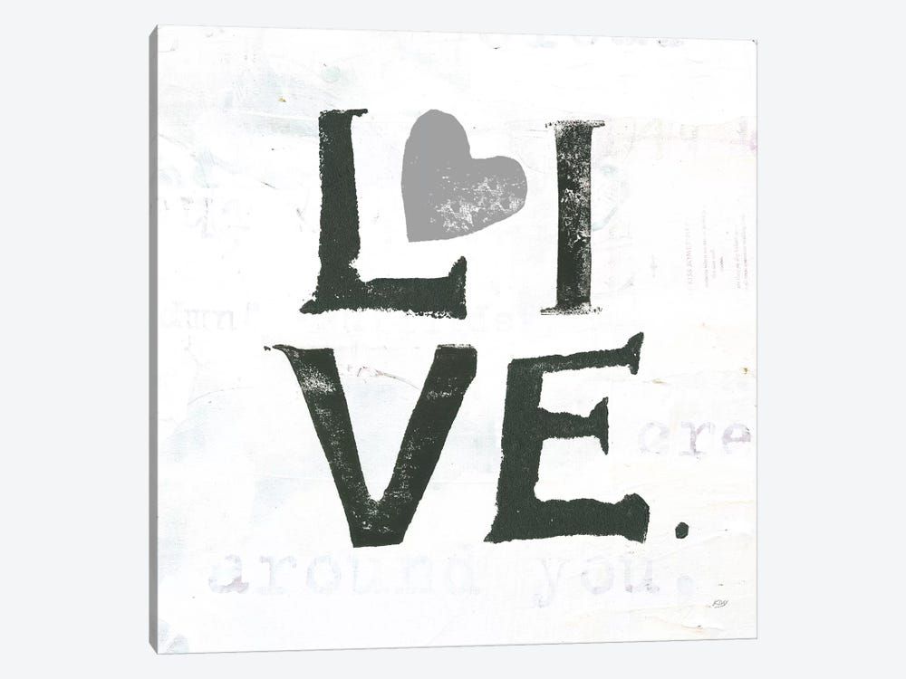 Live: Gray Heart by Kellie Day 1-piece Canvas Art Print