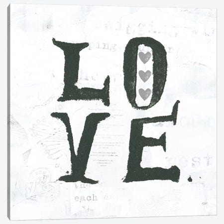 Love: Gray Hearts Canvas Print #WAC7776} by Kellie Day Canvas Wall Art