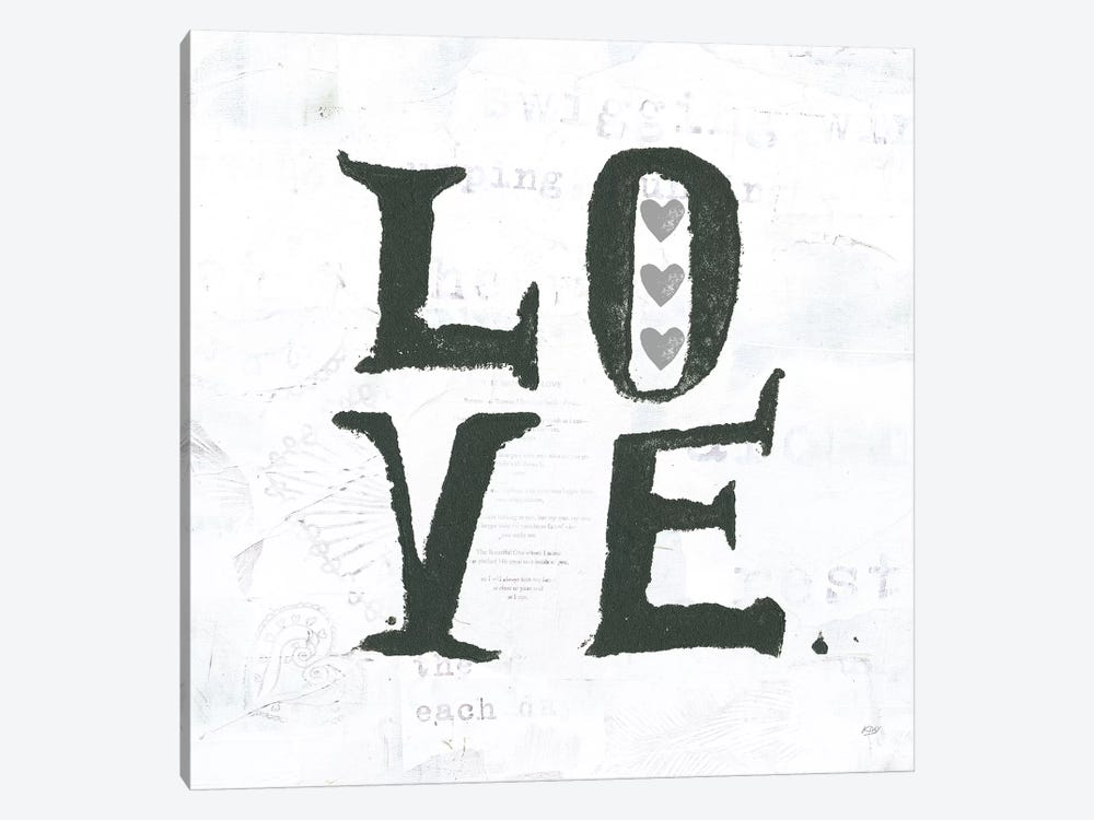 Love: Gray Hearts by Kellie Day 1-piece Canvas Artwork