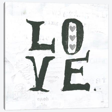 Love: Gray Hearts Canvas Print #WAC7776} by Kellie Day Canvas Wall Art