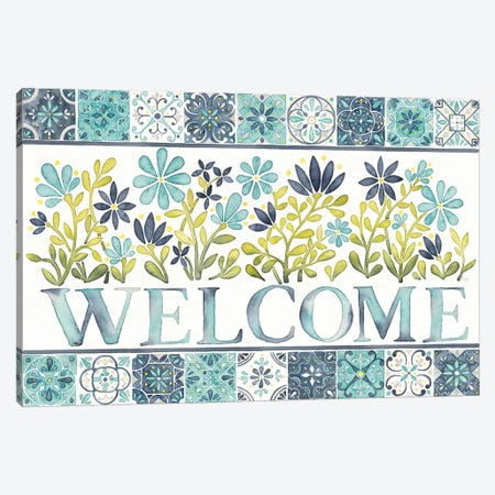 Garden Getaway: Welcome Canvas Print #WAC7780} by Laura Marshall Canvas Artwork