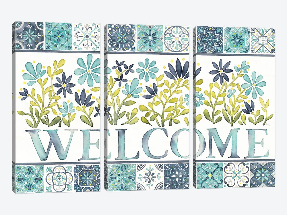 Garden Getaway: Welcome by Laura Marshall 3-piece Canvas Print